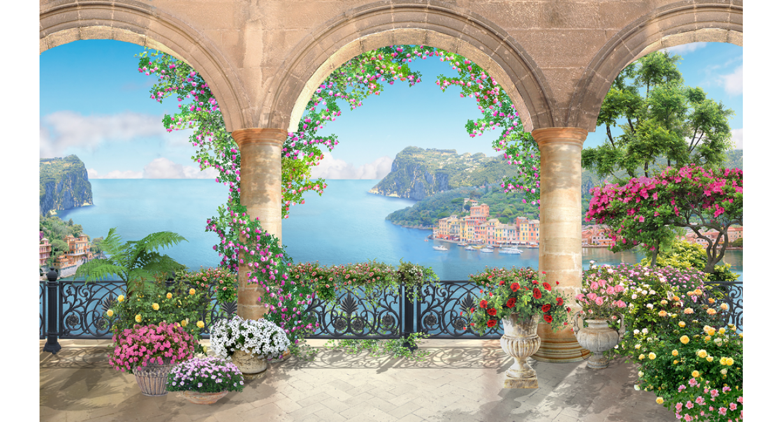 произвести фотообои арки веранды с цветами картинки первое апреля